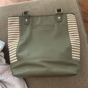 Green and tan large tote/purse